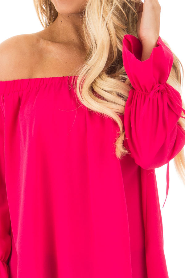 Berry Off the Shoulder Top with Bell Bow Sleeves detail