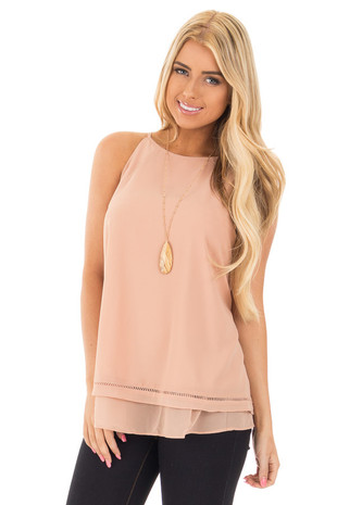 Dusty Blush Layered Sleeveless Top with Crochet Hem Detail front close up