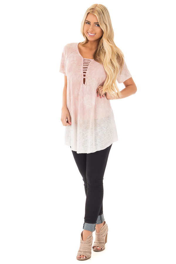 Blush Mineral Washed Tie Dye Short Sleeved Round Neck Top front full body