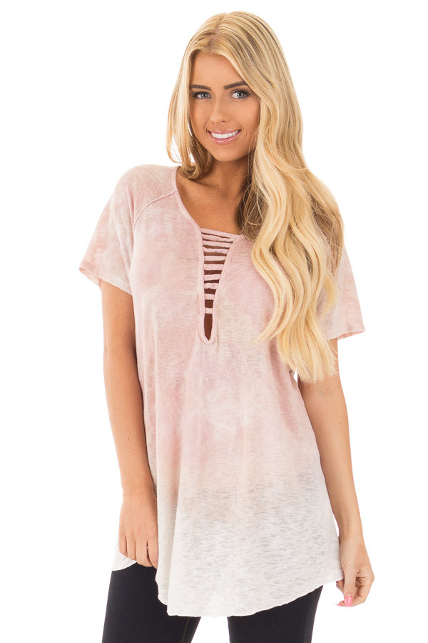 Blush Mineral Washed Tie Dye Short Sleeved Round Neck Top front close up