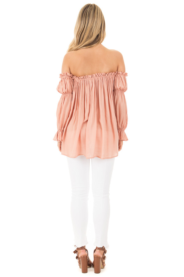 Apricot Off Shoulder Shirred Blouse with Front Tie Detail back full body