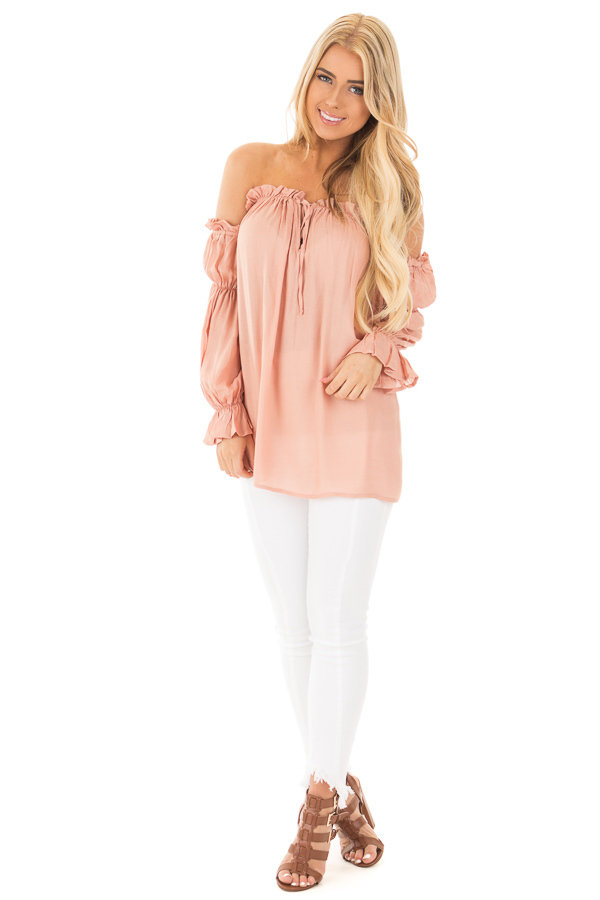 Apricot Off Shoulder Shirred Blouse with Front Tie Detail front full body