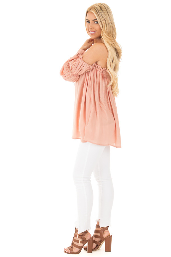 Apricot Off Shoulder Shirred Blouse with Front Tie Detail side full body