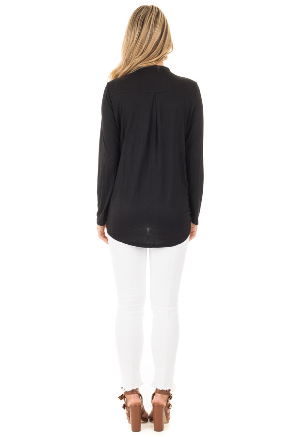 Black Surplice Long Sleeve Top with V Neck Keyhole back full body