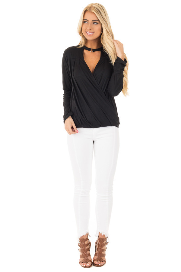 Black Surplice Long Sleeve Top with V Neck Keyhole front full body