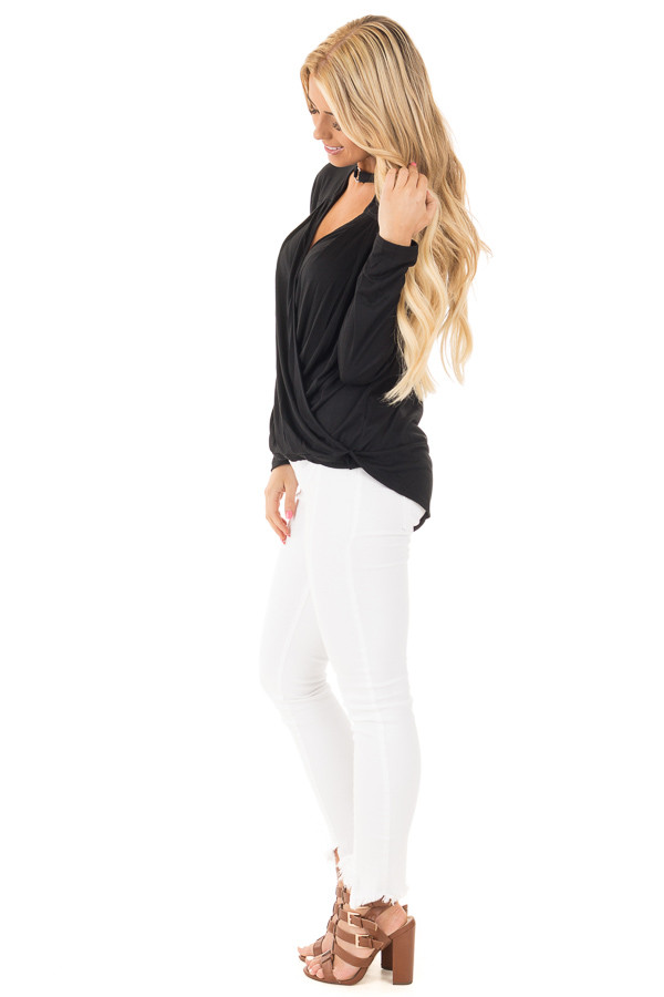Black Surplice Long Sleeve Top with V Neck Keyhole side full body