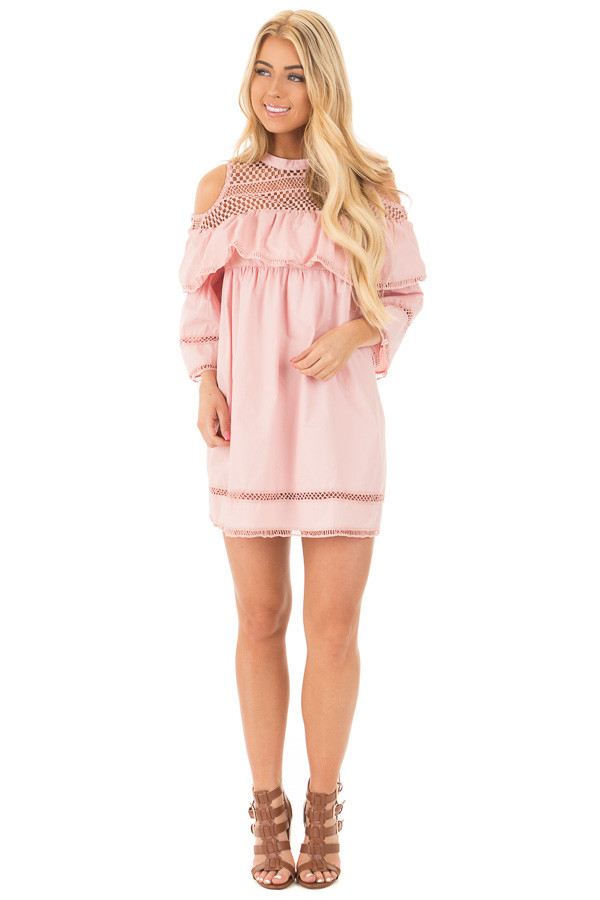 Blush Baby Doll Dress with Sheer Yoke and Ruffle Detail front full body