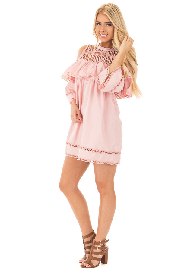 Blush Baby Doll Dress with Sheer Yoke and Ruffle Detail front side full body