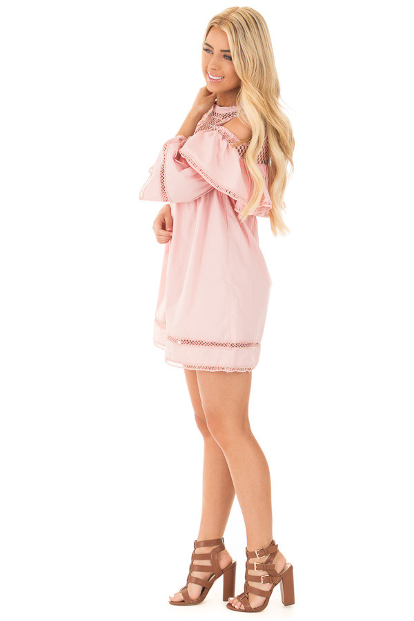 Blush Baby Doll Dress with Sheer Yoke and Ruffle Detail side full body