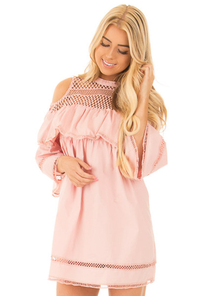 Blush Baby Doll Dress with Sheer Yoke and Ruffle Detail front close up