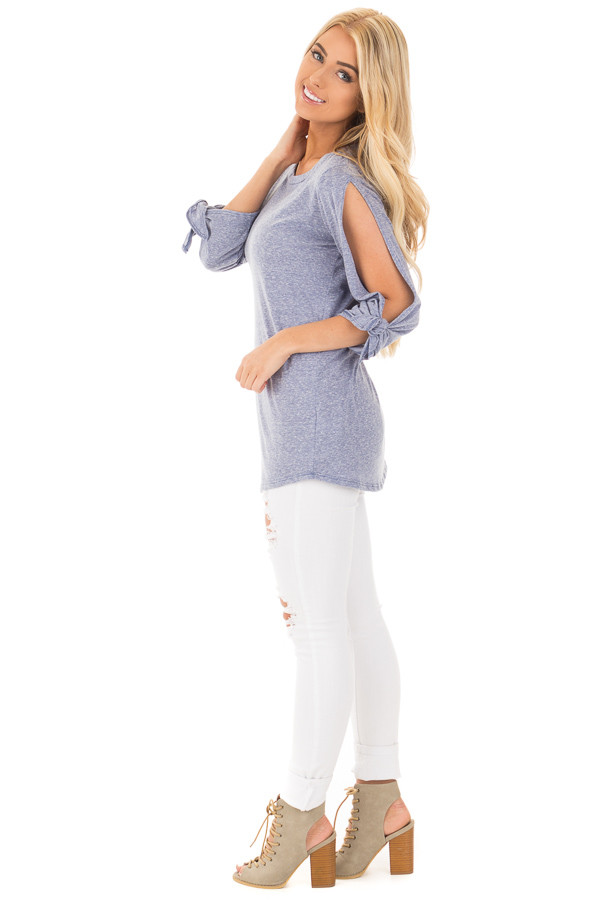 Denim Blue Two Tone Top with Open Sleeves and Tie Details side full body