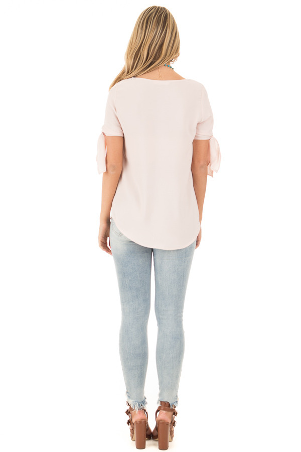 Blush Chiffon Round Neck Top with Tie Sleeve Detail back full body