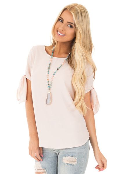 Blush Chiffon Round Neck Top with Tie Sleeve Detail front close up