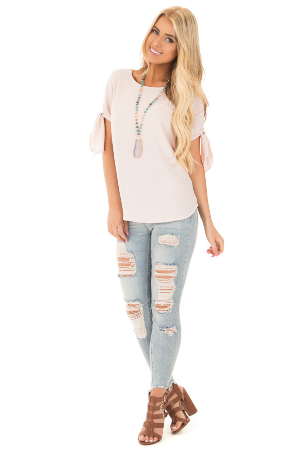 Blush Chiffon Round Neck Top with Tie Sleeve Detail front full body