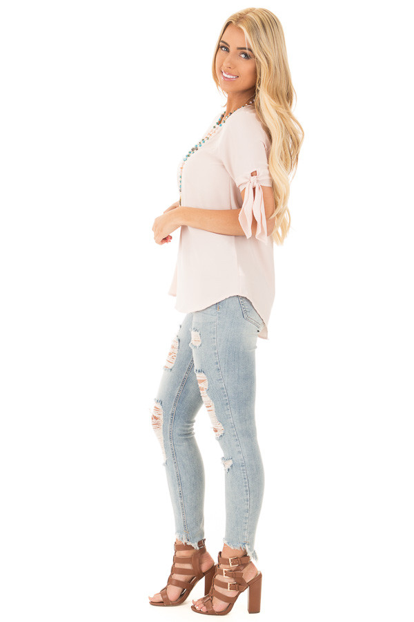 Blush Chiffon Round Neck Top with Tie Sleeve Detail side full body