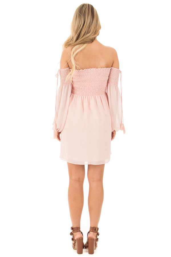 Blush Off Shoulder Dress with Elastic Bust and Tie Detail back full body