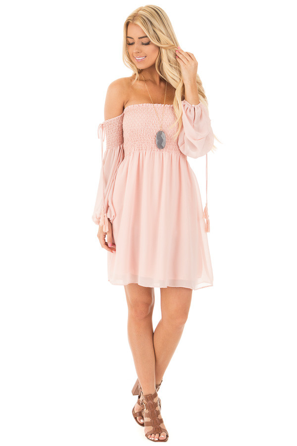 Blush Off Shoulder Dress with Elastic Bust and Tie Detail front full body