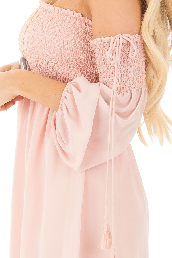 Blush Off Shoulder Dress with Elastic Bust and Tie Detail detail