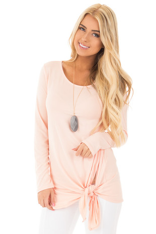 Peach Soft Knit Long Sleeve Top with Tie Detail in Front front close up