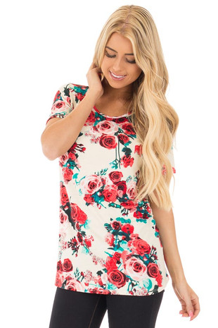 Crimson Rose and Teal Floral Print Short Sleeve Tee front full body