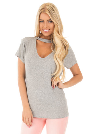 Heather Grey Mock Neck Deep Keyhole Top front close up