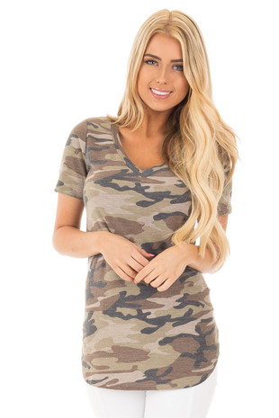 Olive Camouflage V Neck Tee with Rounded Hemline front close up