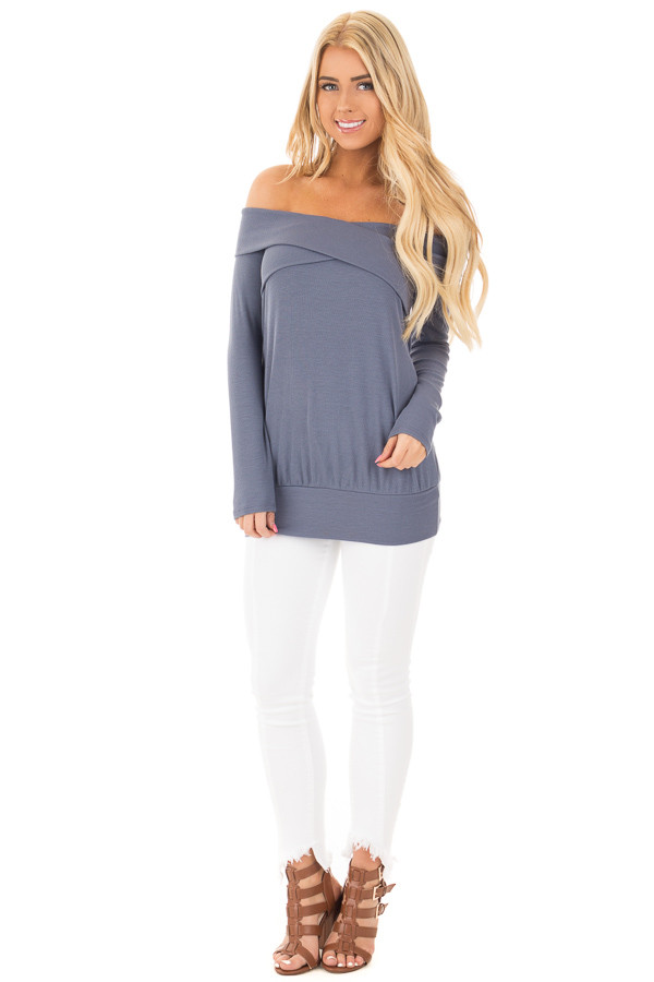 Denim Blue Ribbed Knit Off Shoulder Top with Cross Over Neckline front full body