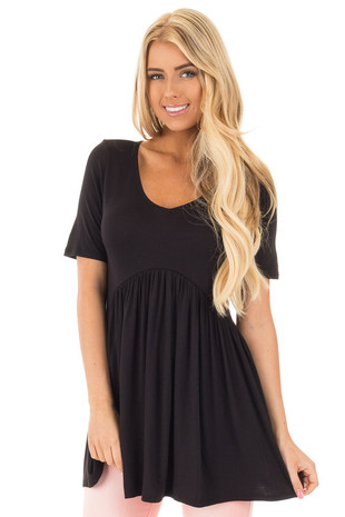 Black V-Neck Gathered Babydoll Waistline Top front close up
