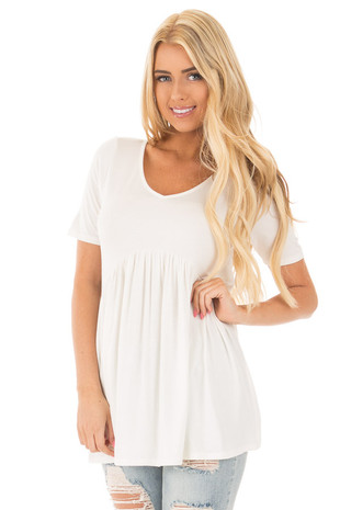 Ivory V-Neck Gathered Babydoll Waistline Top front close up