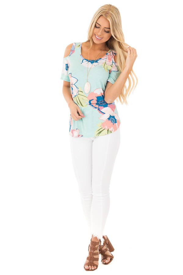 Blue Mint and Blush Floral Cold Shoulder Top front full body