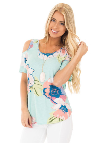 Blue Mint and Blush Floral Cold Shoulder Top front close up