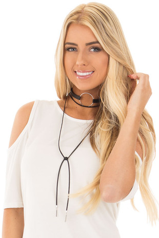 Black Choker Necklace with Silver Circle and Tassel