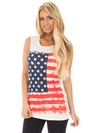 White Relaxed Tank with American Flag Graphic front close up