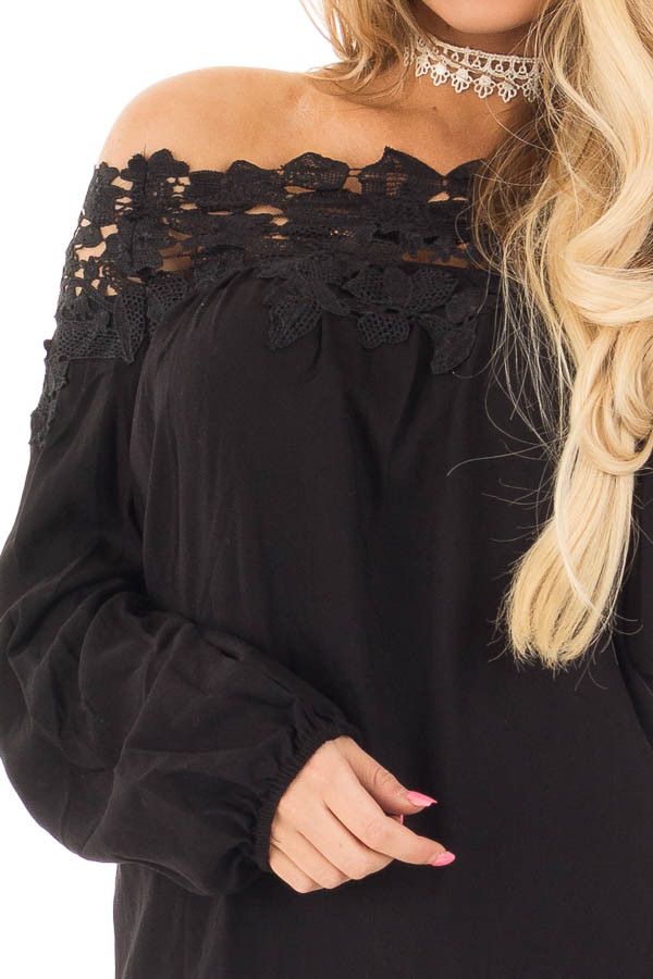 Black Off the Shoulder Lace Floral Top with Bell Sleeves detail