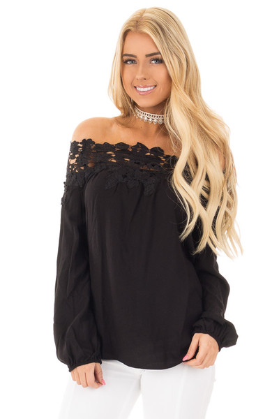 Black Off the Shoulder Lace Floral Top with Bell Sleeves front close up