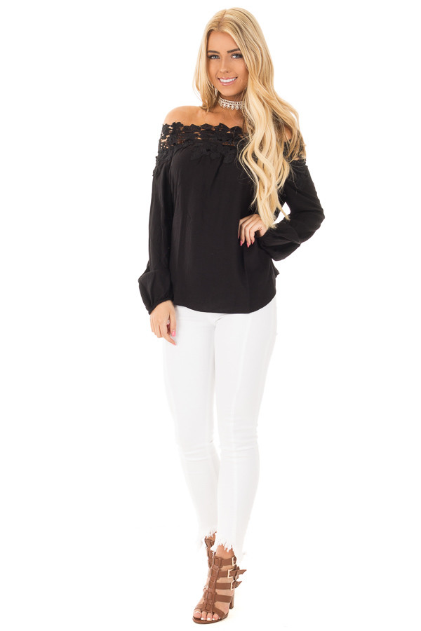 Black Off the Shoulder Lace Floral Top with Bell Sleeves front full body