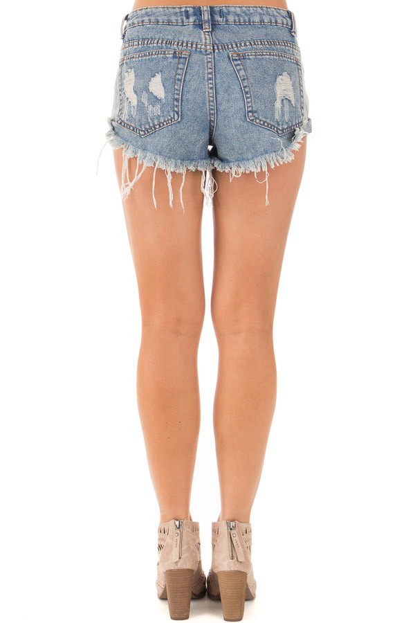 Denim Distressed Button Down High Side Shorts back view