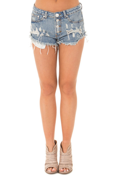 Denim Distressed Button Down High Side Shorts front view
