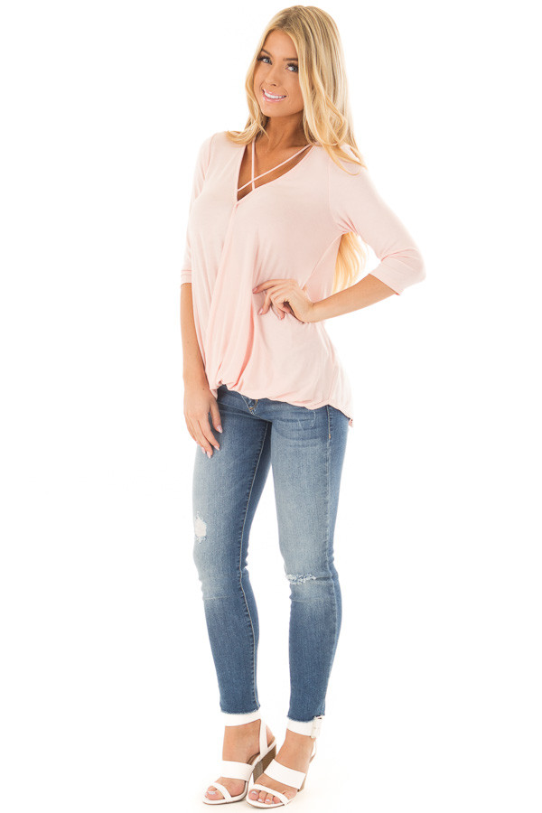 Blush Crossover Drape 3/4 Length Sleeves Tee with X Neckline front full body