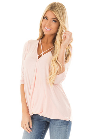 Blush Crossover Drape 3/4 Length Sleeves Tee with X Neckline front close up