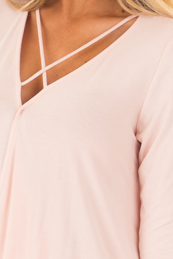 Blush Crossover Drape 3/4 Length Sleeves Tee with X Neckline detail