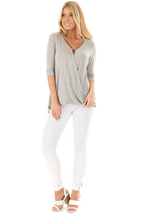 Heather Grey Crossover Drape Tee with X Neckline front full body