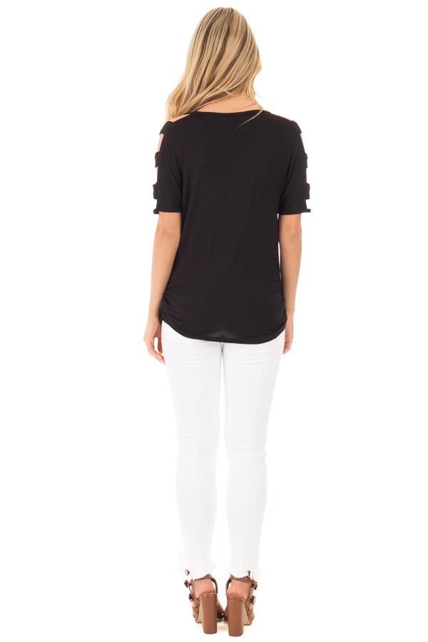 Black 3/4  Ladder Cut Out Sleeves with Ruched Sides back full body