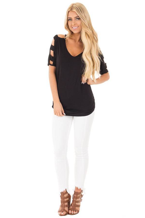 Black 3/4  Ladder Cut Out Sleeves with Ruched Sides front full body