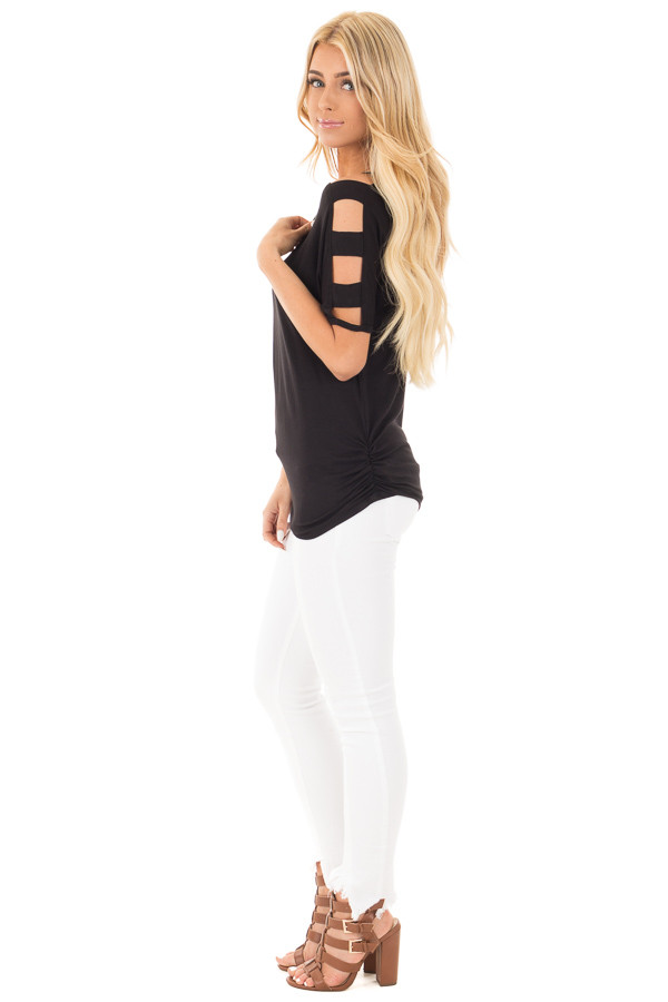 Black 3/4  Ladder Cut Out Sleeves with Ruched Sides side full body