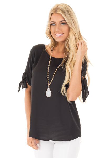 Black Short Sleeve Top with Tie Details on Sleeves front close up