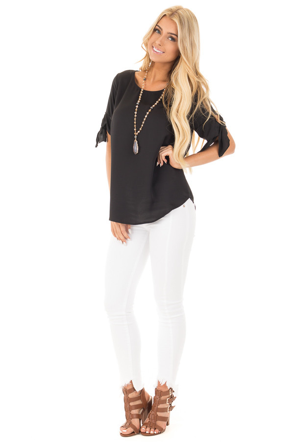 Black Short Sleeve Top with Tie Details on Sleeves front full body