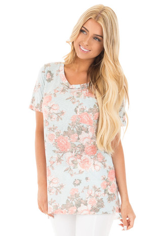 Mint Two Tone Floral Tunic Tee with Breast Pocket front close up