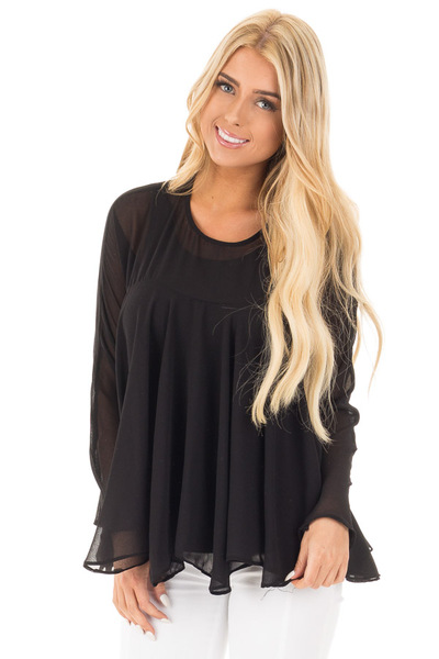 Black Sheer Long Sleeve Swing Top front close up