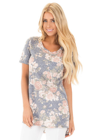 Navy Two Tone Floral Tunic Tee with Breast Pocket front close up